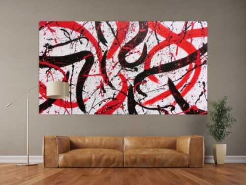 Abstraktes Acrylbild in weiß mit schwarz und rot Action Paitning sehr modern zeitgenössisch