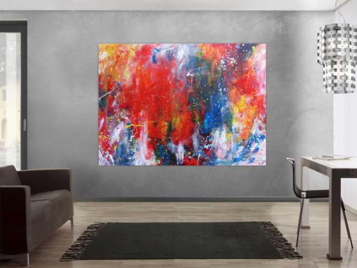 #1153 Abstraktes Acrylbild sehr bunt modern Art Mischtechnik Action ... 150x200cm von Alex Zerr