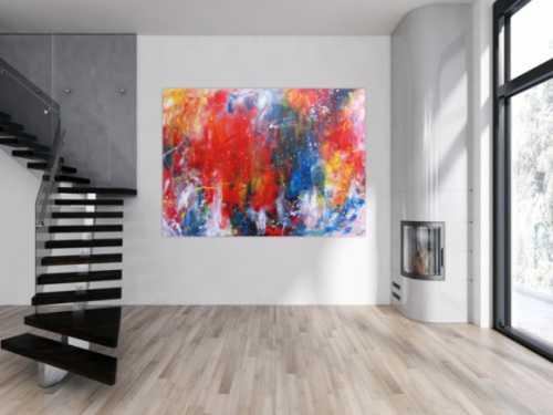 Abstraktes Acrylbild sehr bunt modern Art Mischtechnik Action Painting viele Farben rot blau gelb weiß