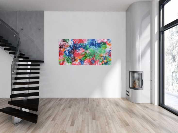 #1154 Abstraktes Acrylbild sehr bunt Fluid Painting Fließtechnik modernes ... 80x160cm von Alex Zerr