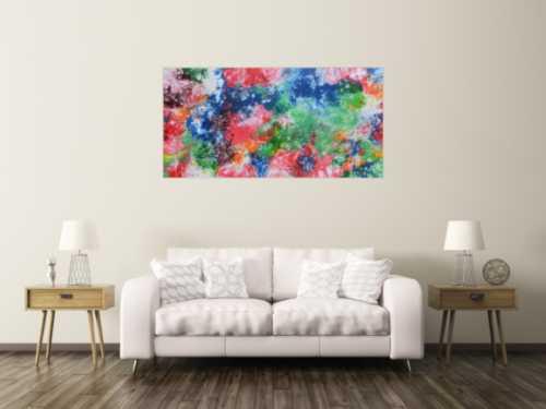 Abstraktes Acrylbild sehr bunt Fluid Painting Fließtechnik modernes Gemälde viele Farben
