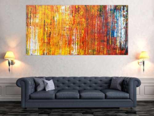 Abstraktes Acrylbild in Spachteltechnik sehr bunt modern in gelb orange rot blau weiß