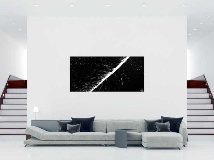 #1156 Abstraktes Acrylbild minimalistisch in schwarz weiß Action Painting ... 100x200cm von Alex Zerr
