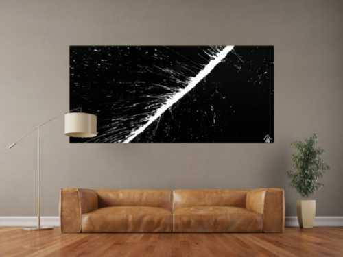 Abstraktes Acrylbild minimalistisch in schwarz weiß Action Painting sehr modern Splash Art