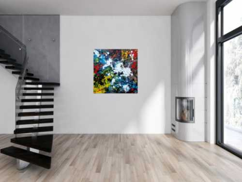 Abstraktes Acrylbild sehr modern Splash Art Action Painting sehr viele Farben bunt