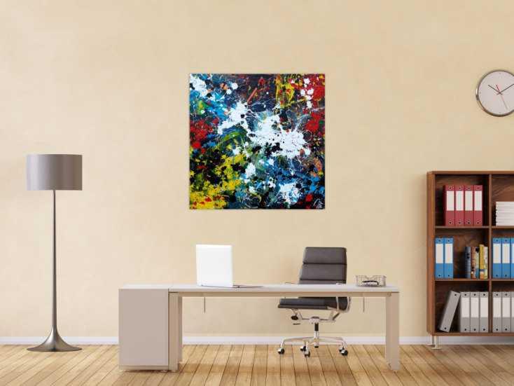 #1157 Abstraktes Acrylbild sehr modern Splash Art Action Painting sehr ... 100x100cm von Alex Zerr