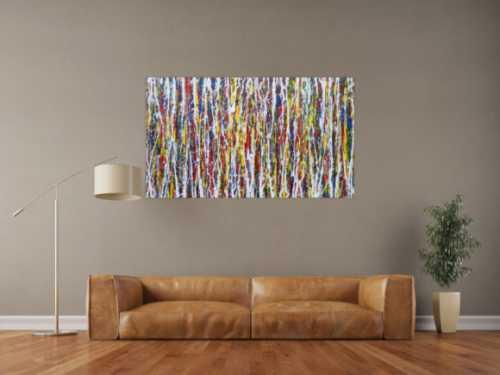 Abstraktes Acrylbild sehr bunt modern art Action Painting modern zeitgenössisch