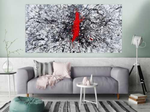 Abstraktes Acrylbild Action Painting sehr modern roter Fleck auf weiß grau braun schwarz Splash Art