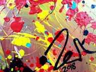 Detailaufnahme Abstraktes Acrylbild sehr bunt moderne modern Splash Art Action Painting