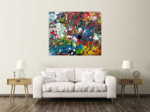 Abstraktes Acrylbild sehr bunt moderne modern Splash Art Action Painting