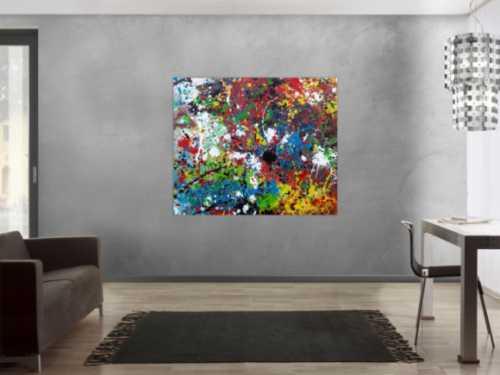 Abstraktes Acrylbild sehr bunt moderne modern Splash Art Action Painting