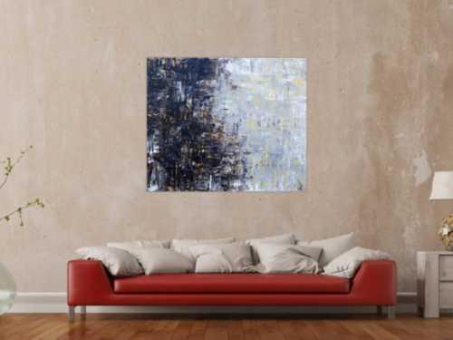 Abstraktes Acrylbild sehr modern grau weiß schwarz braun modern art zeitgenössisch schlicht