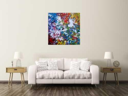 Abstraktes Acrylbild sehr bunt modern Splash Art zeitgenössisch handgemalt
