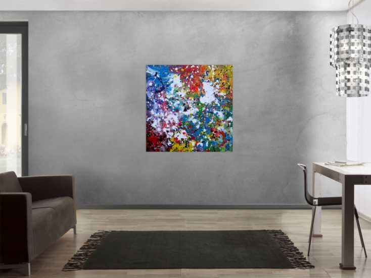 #1162 Abstraktes Acrylbild sehr bunt modern Splash Art zeitgenössisch ... 100x100cm von Alex Zerr