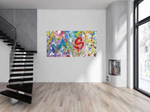 Abstraktes Acrylbild sehr bunt modern helle bunte Farben A und S abstrakt Action Painting splash Art
