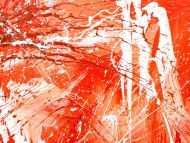 Detailaufnahme Abstraktes Acrylbild sehr modern mediterrane Farben in orange weiß Action Painting mordern Art