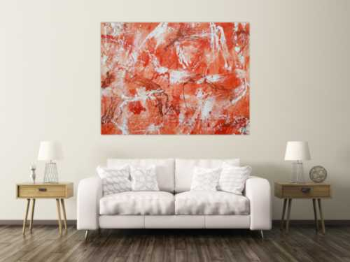 Abstraktes Acrylbild sehr modern mediterrane Farben in orange weiß Action Painting mordern Art