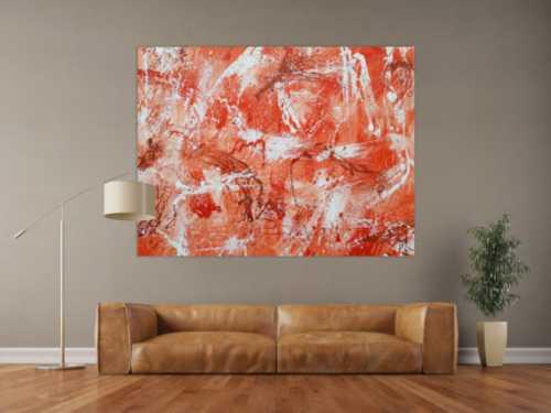 Abstraktes Acrylbild sehr modern mediterrane Farben in orange weiß Action Painting mordern Art