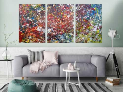 Abstraktes Acrylbild sehr bunt modern Triptychon drei Teile Action Paiting