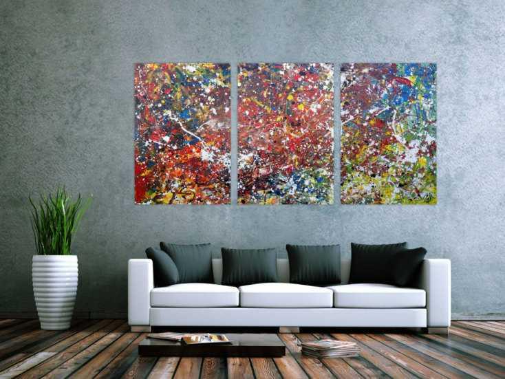 #1165 Abstraktes Acrylbild sehr bunt modern Triptychon drei Teile Action ... 100x210cm von Alex Zerr