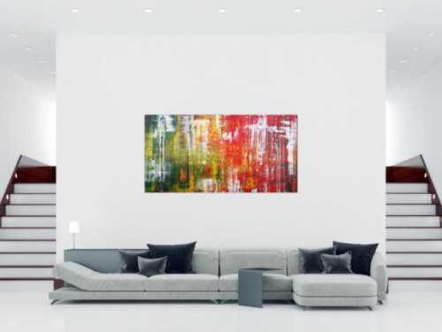 Abstraktes Acrylbild in Spachteltechnik sehr modern und bunt viele Farben rot gelb grün blau weiß