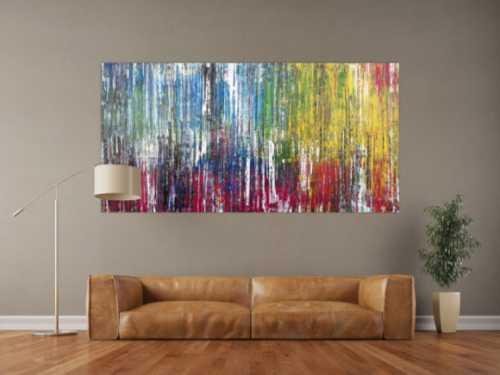 Abstraktes Acrylbild sehr bunt viele Farben Spachteltechnik Modern Art