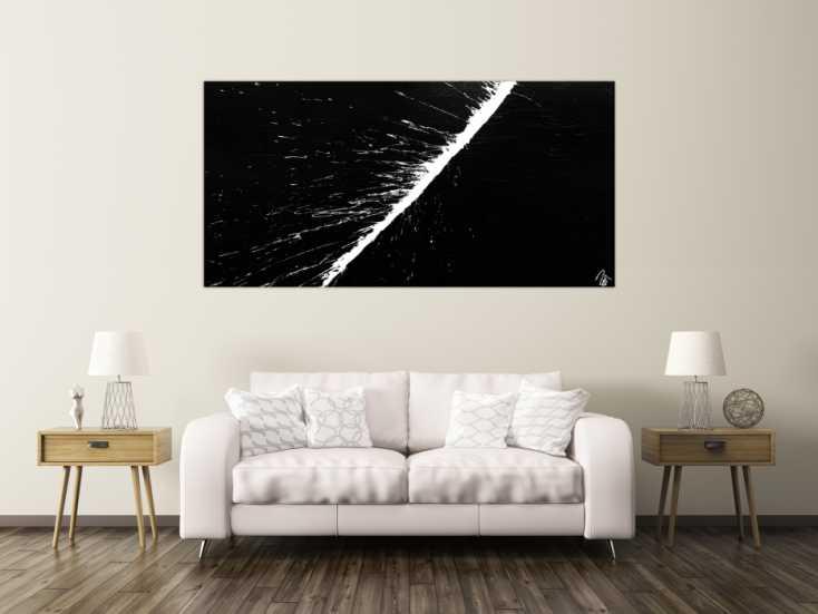#1168 Abstraktes Acrylbild minimalistisch schwarz weiß Action Painting ... 100x200cm von Alex Zerr