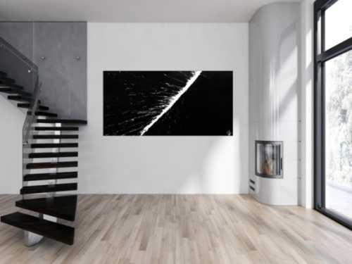 Abstraktes Acrylbild minimalistisch schwarz weiß Action Painting Splash Art schlicht zeitgenössisch