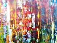Detailaufnahme Abstraktes Acrylbild sehr bunt viele Farben Modern Art Spachteltechnik