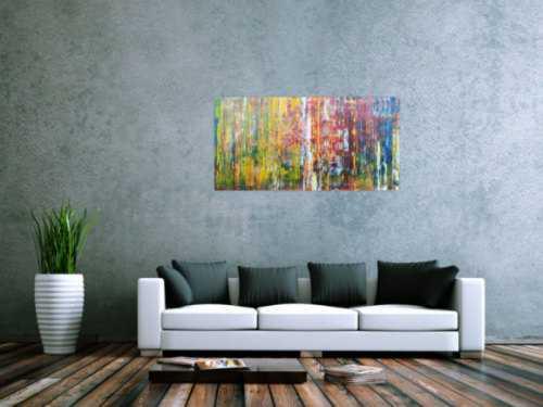 Abstraktes Acrylbild sehr bunt viele Farben Modern Art Spachteltechnik