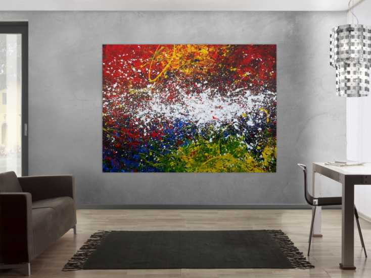 #1170 Abstraktes Acrylbild Action Painting sehr modern viele Farben sehr ... 150x200cm von Alex Zerr