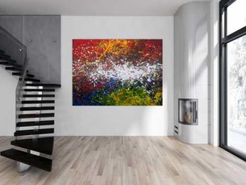 Abstraktes Acrylbild Action Painting sehr modern viele Farben sehr bunt Modern Art
