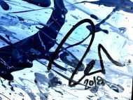 Detailaufnahme Abstraktes Acrylbild aus echtem Rost und Acryl Action Painting Splash Art Mischtechnik Modern Art Zeitgenössisch