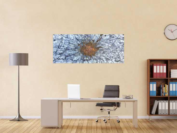 #1171 Abstraktes Acrylbild aus echtem Rost und Acryl Action Painting Splash ... 60x150cm von Alex Zerr