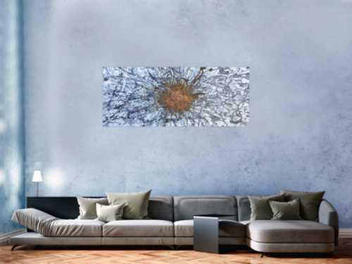 Abstryktes Acrylbild aus echtem Rost und Acryl Action Painting Splash Art Mischtechnik Modern Art Zeitgenössisch