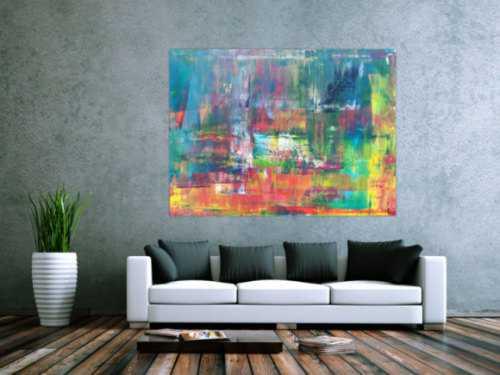 Abstraktes Acrylbild in Spachteltechnik sehr modern bunt viele Farben zeitgenössisch handgemalt