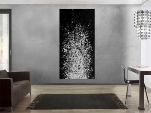 Abstraktes Acrylbild schwarz weiß Action Painting schlicht modern