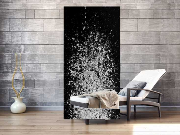 #1173 Abstraktes Acrylbild schwarz weiß Action Painting schlicht modern 200x100cm von Alex Zerr
