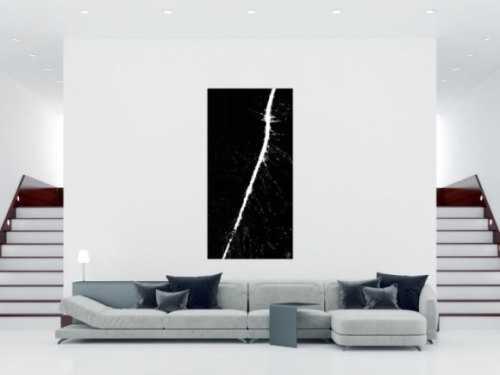 Abstraktes Acrylbild schwarz weiß Action Painting sehr modern minimalistisch zeitgenössisch