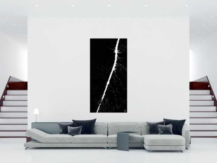 #1174 Abstraktes Acrylbild schwarz weiß Action Painting sehr modern ... 200x100cm von Alex Zerr
