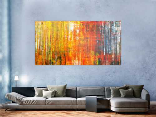 Abstraktes Acrylbild sehr modern bunte Farben Spachteltechnik Modern Art