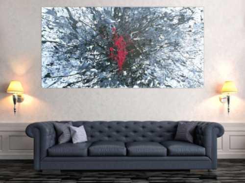 Abstraktes Acrylbild Action Painting Slpash Art Modern Art glau weiß schwarz pink