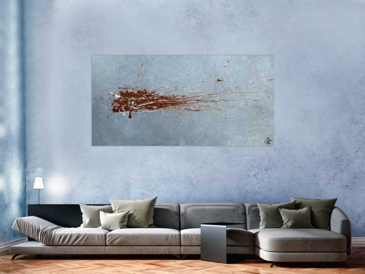 bilder rot grau abstraktes acrylbild action painting sehr modern in grau