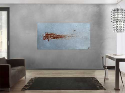 Abstraktes Acrylbild Action Painting sehr modern in grau bordeaux rot Slpash Art