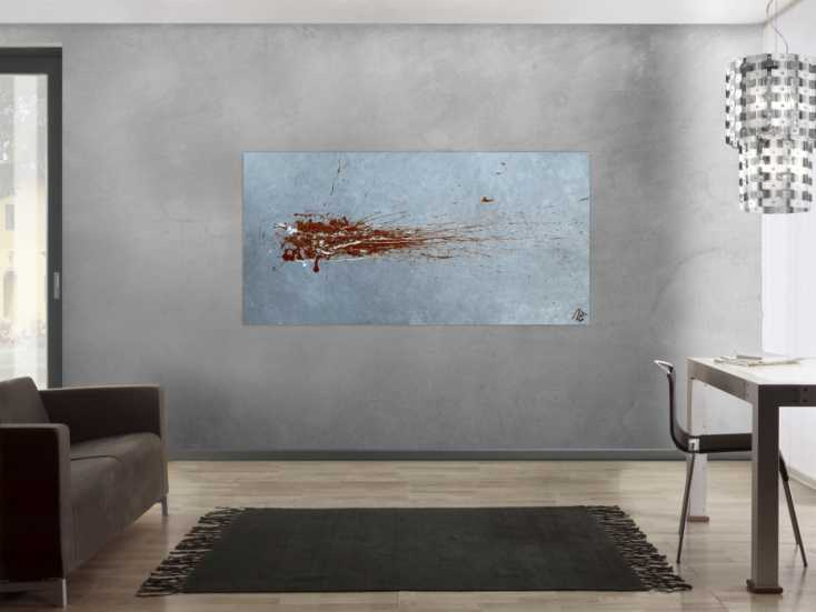 #1178 Abstraktes Acrylbild Action Painting sehr modern in grau bordeaux rot ... 90x180cm von Alex Zerr
