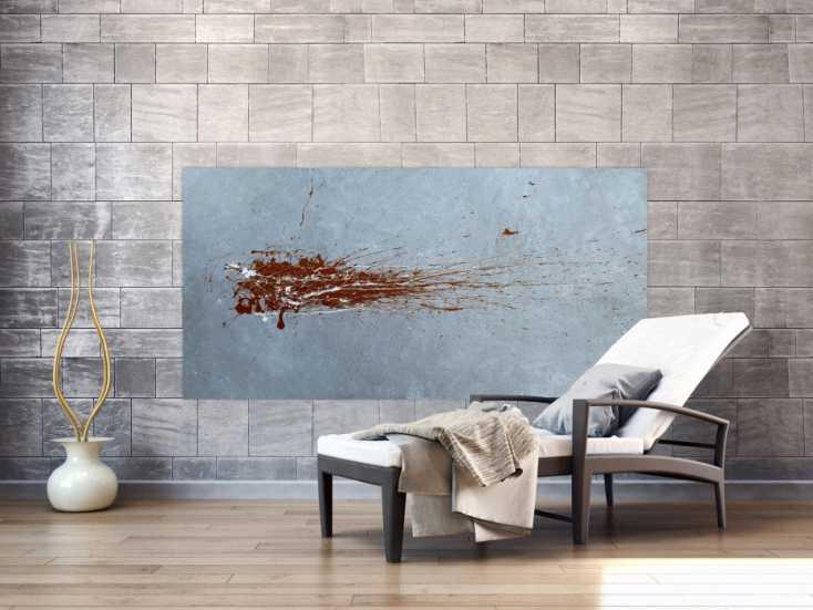 #1178 Abstraktes Acrylbild Action Painting sehr modern in grau bordeaux rot ... 90x180cm von Alex Zerr