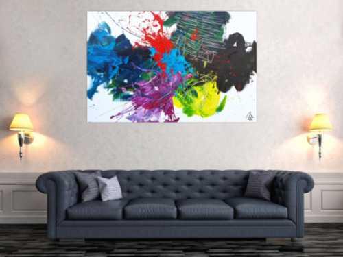 Abstraktes Acrylbild sehr modern Action Action Painting Splash Art sehr bunt
