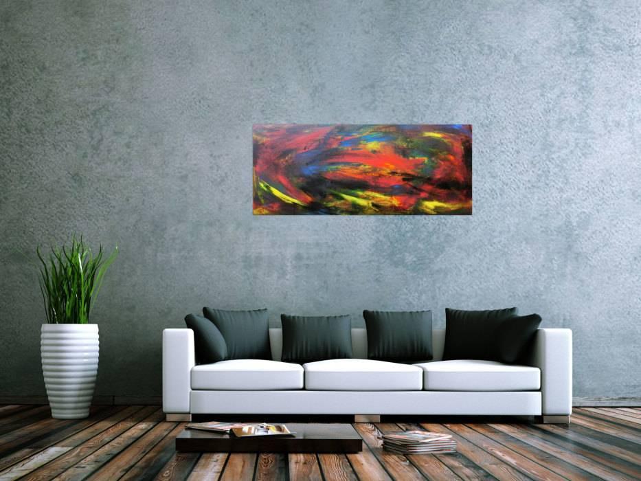 abstraktes acrybild bunt modern handgemalt auf leinwand in 49x120cm von alex zerr. Black Bedroom Furniture Sets. Home Design Ideas