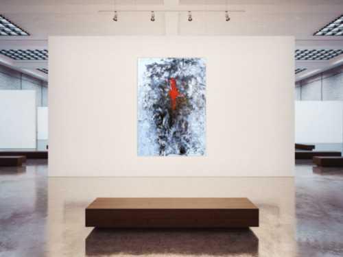 Abstraktes Acrylgemälde sehr modern im Hochformat Action Painting Splash Art und Spachteltechnik