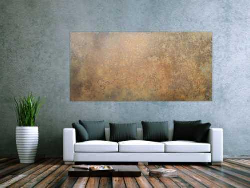 Abstraktes Bild aus echtem Rost sehr modern schlicht zeitgenössisch erdfarben rost orange